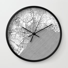 Malaga Map Line Wall Clock
