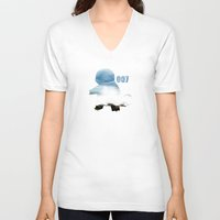 squirtle V-neck T-shirts featuring 007 squirtle by Hello Happy