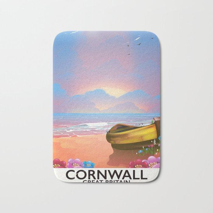 Cornwall beach vintage seaside poster Bath Mat