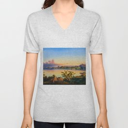 Rio De Janeiro with Sugarloaf in Background, Brazil coastal landscape painting by Alessandro Cicarelli Unisex V-Neck
