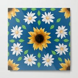 Flower Mandala - Classic Blue Metal Print