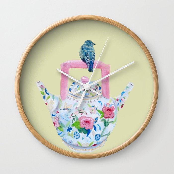 Bluebird And Teapot Wall Clock By Karencox Society6
