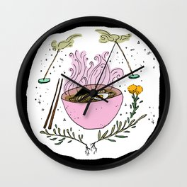 Pink Ramen and Good Smells Wall Clock