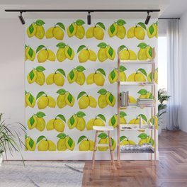 Lemons pattern in yellow and green leaves Wall Mural