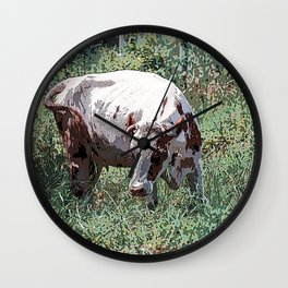 Cow on a summer meadow Wall Clock