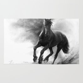 Horse in Storm - GRAPHITE DRAWING Rug