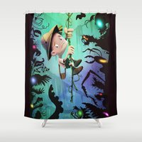 brad pitt Shower Curtains featuring The Pitt by Richtoon