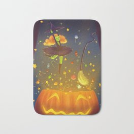 Witch Surprise From Pumpkin in Halloween Night Bath Mat
