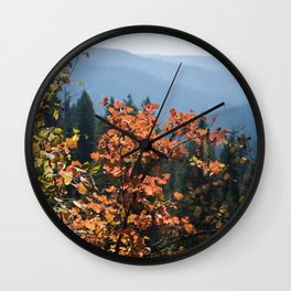 Colorful Fall Leaves Photography Print Wall Clock