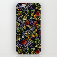 Flying Fox and Floral Pattern iPhone Skin