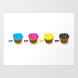 CMYK cupcakes Art Print