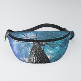 Wintry Trees Galaxy Skies Teal Blue Violet Fanny Pack