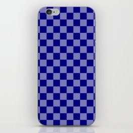 Large Navy Blue Check Pattern iPhone Skin