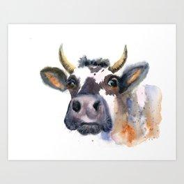 watercolor cow portrait 3 Art Print