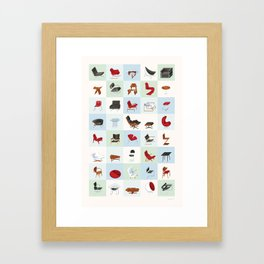 Mid-Century Modern Furniture (Cool) Framed Art Print