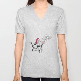 Moo-ey Christmas Cow Unisex V-Neck