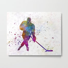 Hockey man player 03 in watercolor Metal Print
