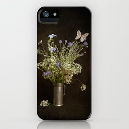 Still life with wildflowers and butterflies iPhone Case