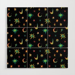 Colorful Watercolor Stars and Moons Pattern Wood Wall Art