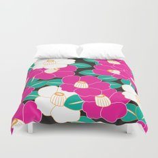 Japanese Style Camellia - Pink and Black Duvet Cover
