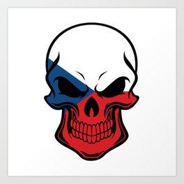 Czech Republic Flag Skull Art Print