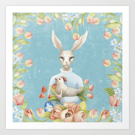 Beautiful Floral Flowers Female Animal Easter Bunny  on #Society6 Art Print