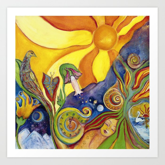 The Dream Whimsical Modern Fantasy Psychedelic Art by Garden Of Delights Art Print