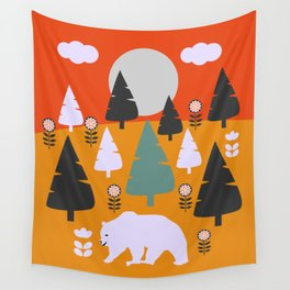 Bear walking between flowers and pine trees Wall Tapestry