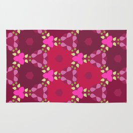 Kaleidoscope Flowers RedPink Rug