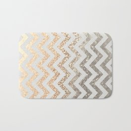 GOLD & SILVER CHEVRON Bath Mat
