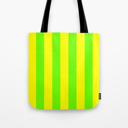 Bright Neon Green and Yellow Vertical Cabana Tent Stripes Tote Bag