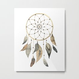 Dream Catcher Brown Metal Print