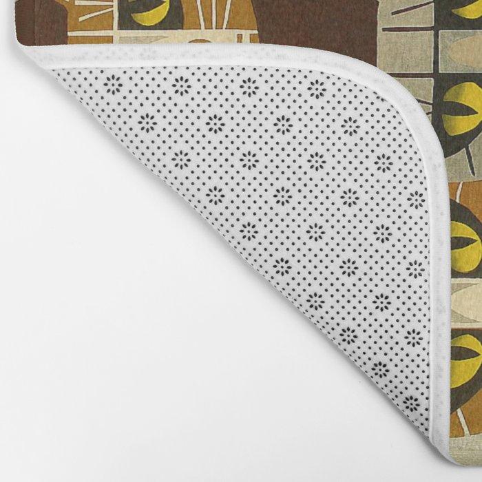 Cat Pattern Japanese, Cat, Cubism, Woodblock Print, Cherry Blossom, Midcentury, Modern Bath Mat