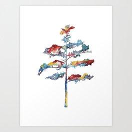 Pine tree #1 - multicoloured ink painting Art Print