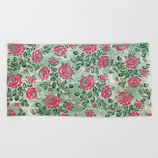 Retro French Floral Pattern Beach Towel