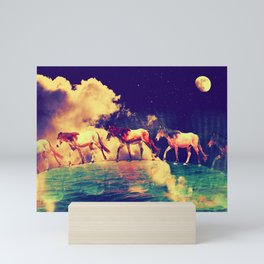 Horses to the moon by #Bizzartino Mini Art Print
