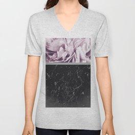 Light Purple Flower Meets Gray Black Marble #1 #decor #art #society6 Unisex V-Neck