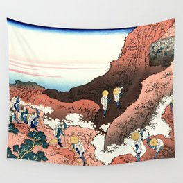 "Hokusai (1760-1849)  ""Climbing on Fuji"" Wall Tapestry"