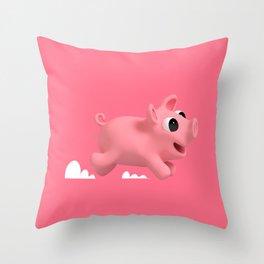 Rosa the Pig running Throw Pillow