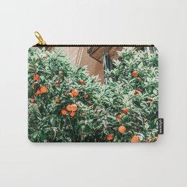 Orange Fruit Tree Print, Barcelona City Print, Oranges Fruits Art Print, Urban Photography, Summer Travel Tropical Print Carry-All Pouch