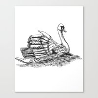 black swan Canvas Prints featuring Swan  by Amor et Squalore