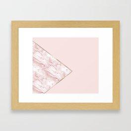 Blush pink geo - pink marble Framed Art Print