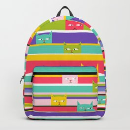 Colorful Peeking Cats on stripes Backpack