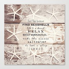starfish on wood Canvas Print