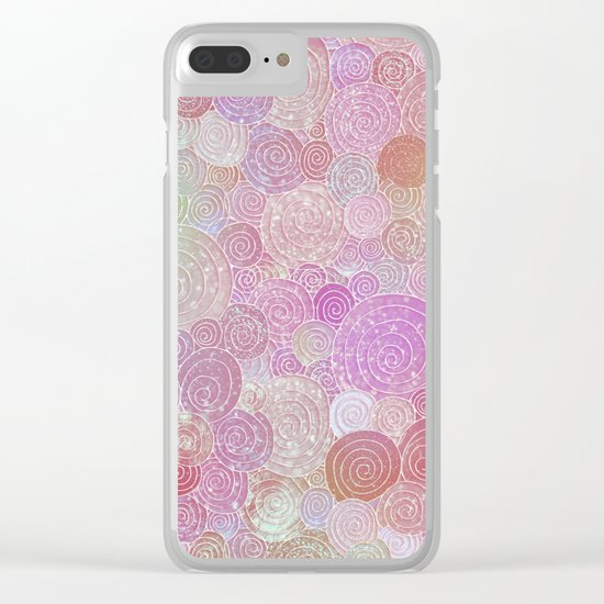 Abstract pink rosegold glamour glitter circles for ladies on #Society6 Clear iPhone Case