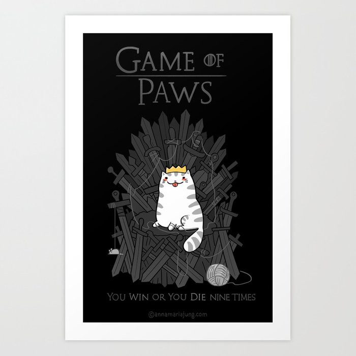 Game of Paws Art Print