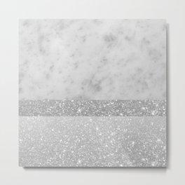 White Marble Silver Gray White Glitter Stripe Glam #1 #minimal #decor #art #society6 Metal Print
