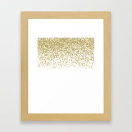 Sparkling gold glitter confetti on simple white background - Pattern Framed Art Print