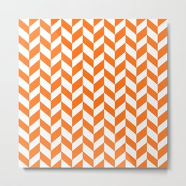 Herringbone Texture (Orange & White) Metal Print