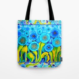 Field of Poppies with Border All Around Belize Tote Bag